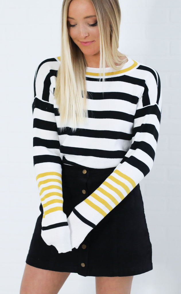 on point striped sweater