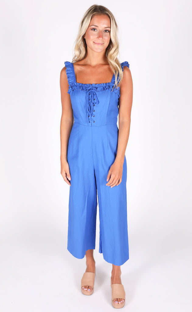 on point lace up jumpsuit