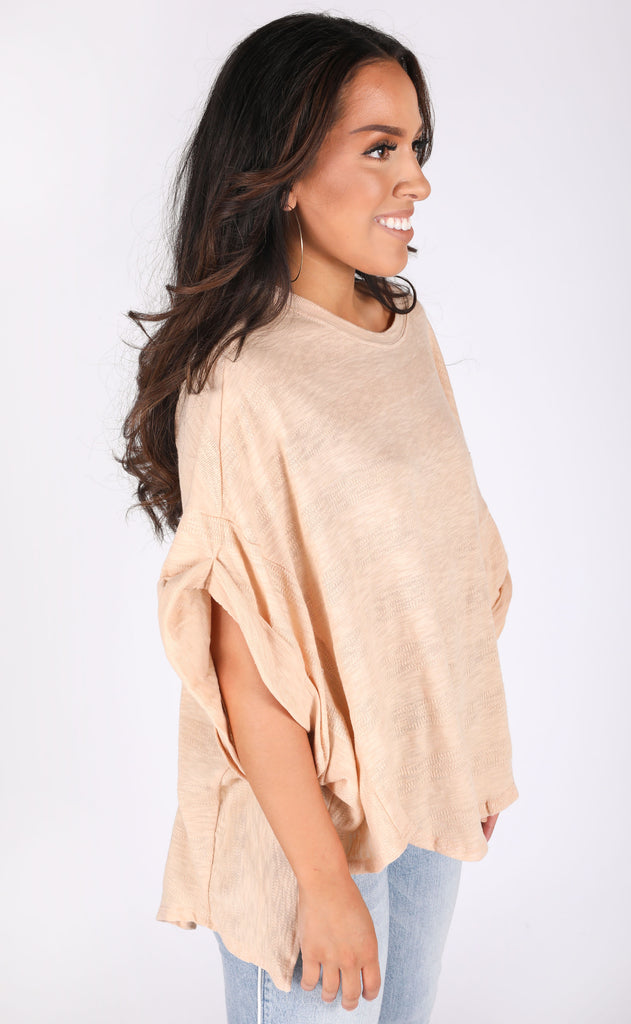 on repeat oversized top - beige