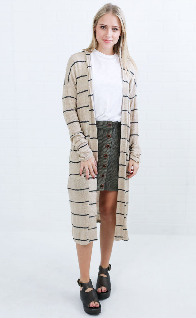 on repeat striped cardigan - taupe