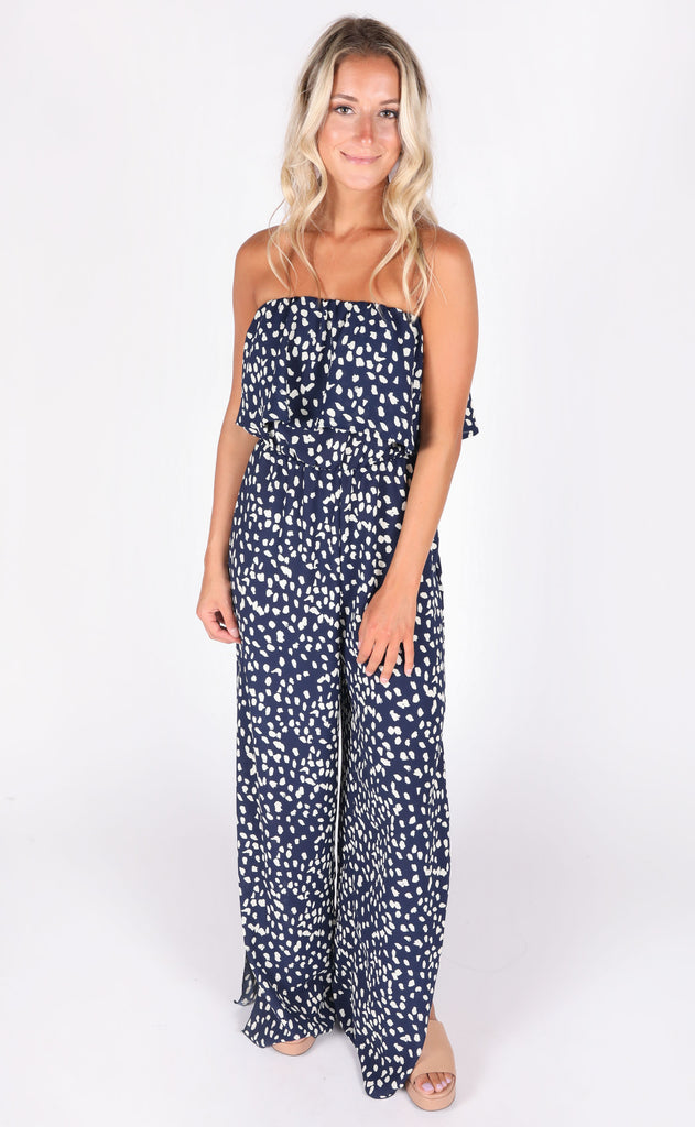 on the spot strapless jumpsuit - navy