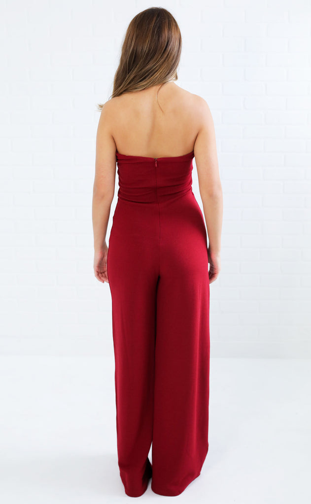 on the town plunging jumpsuit - burgundy