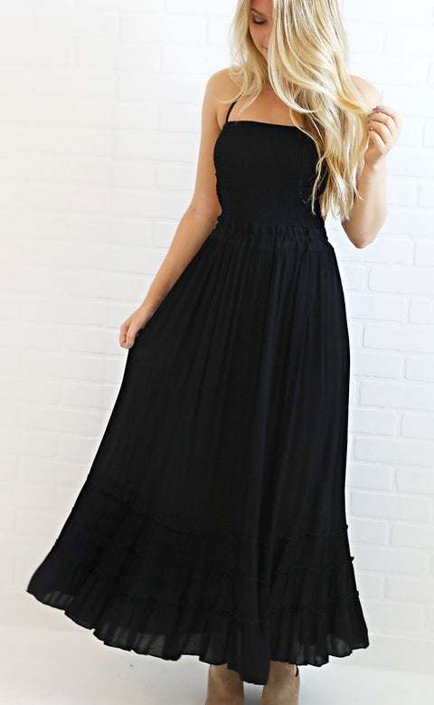on the coast midi dress - black