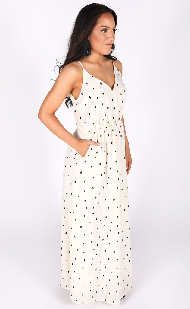 on the dot printed maxi dress