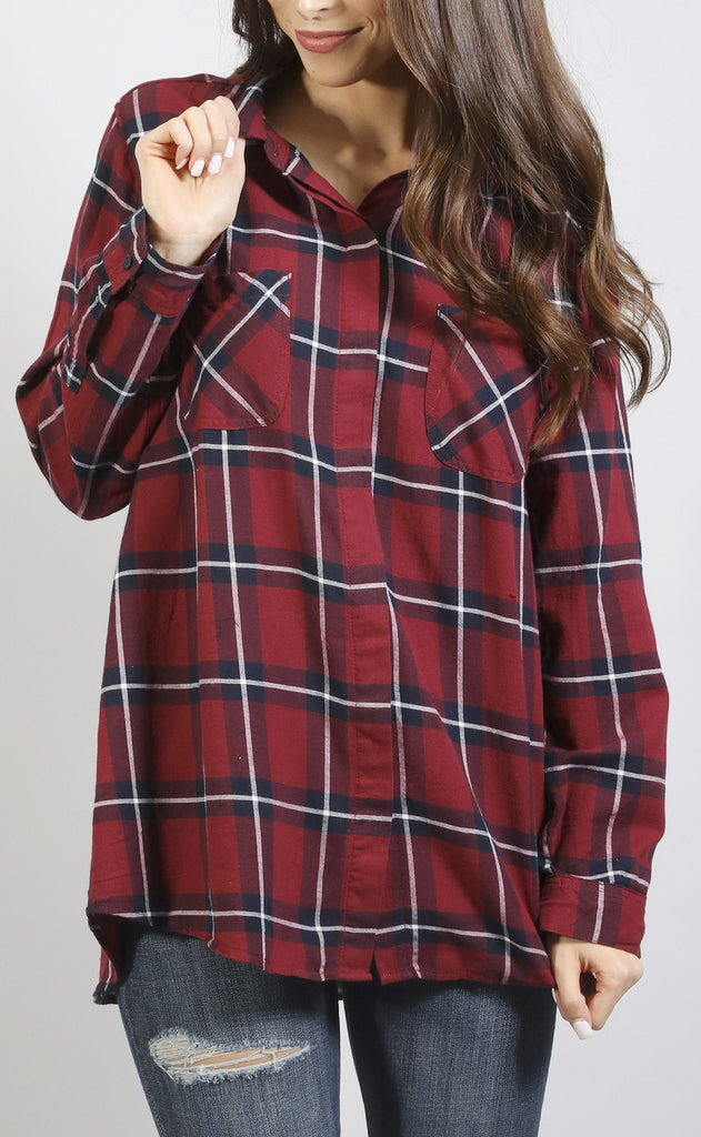 on the fence plaid top