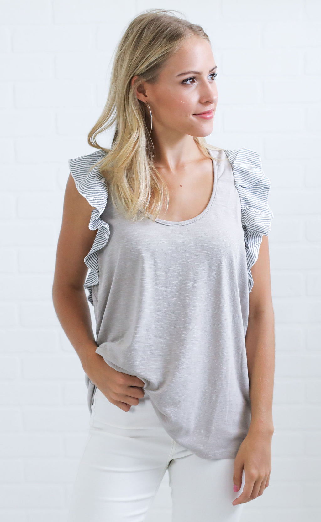 on the lookout ruffle top - grey
