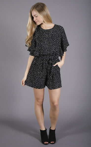 on the dot printed romper