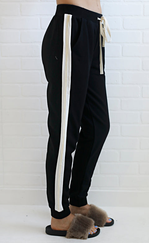 on your team striped joggers - black