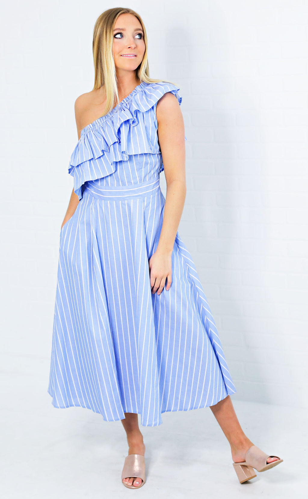 one shoulder wonder striped dress