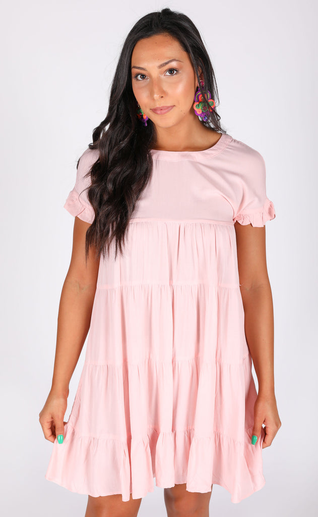 ooh la la babydoll dress - blush