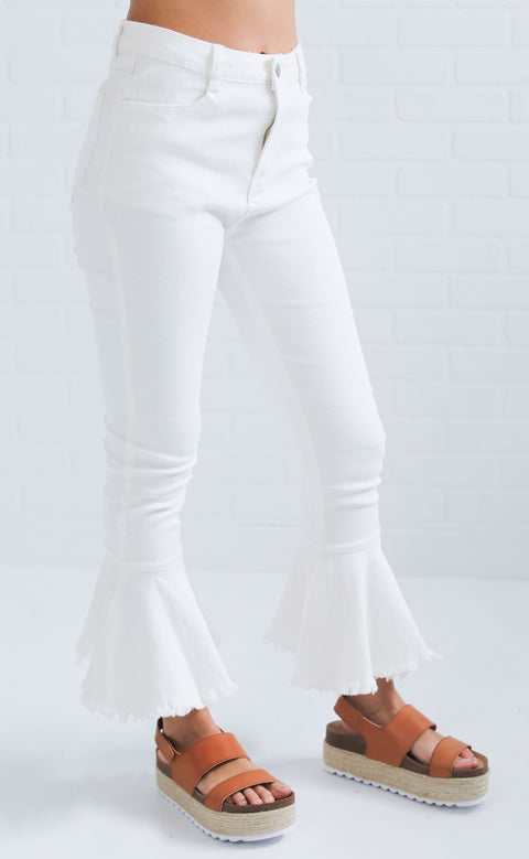 out of pocket flare jeans - white