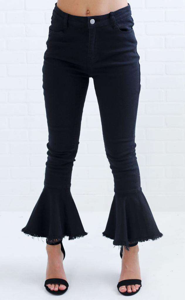 out of pocket flare jeans - black