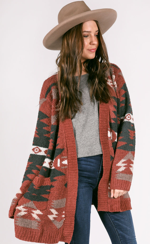 outer limits knit cardigan - burgundy