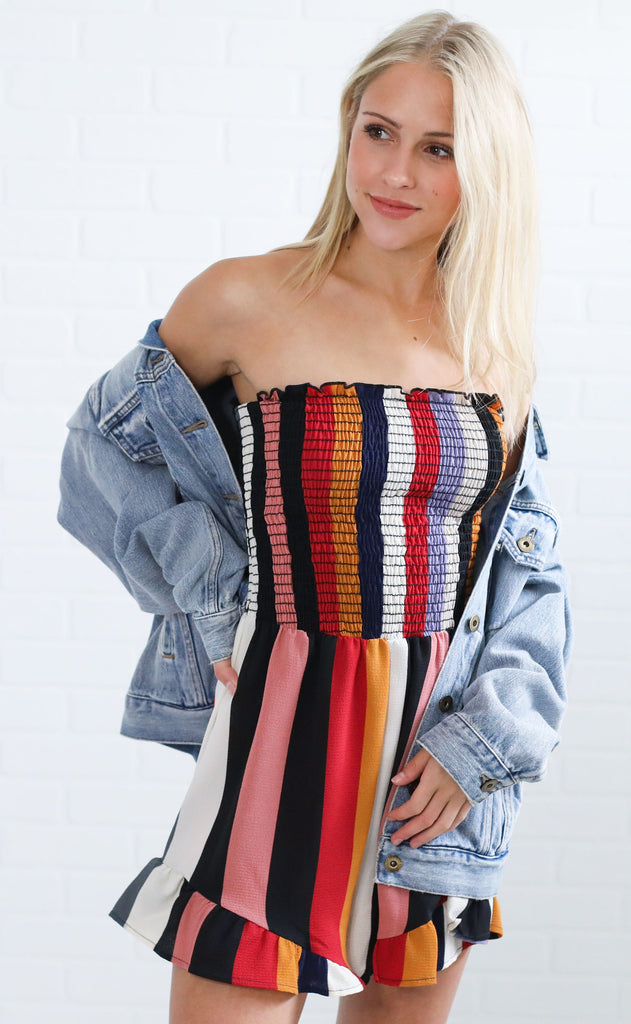 over the rainbow striped romper