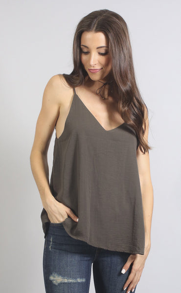 own the night slip top - olive