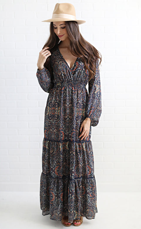paisley party maxi dress