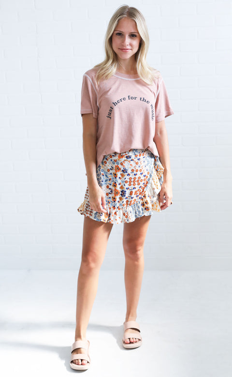 paisley day floral skort - taupe