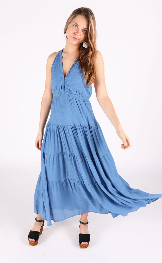 palms away maxi dress - blue