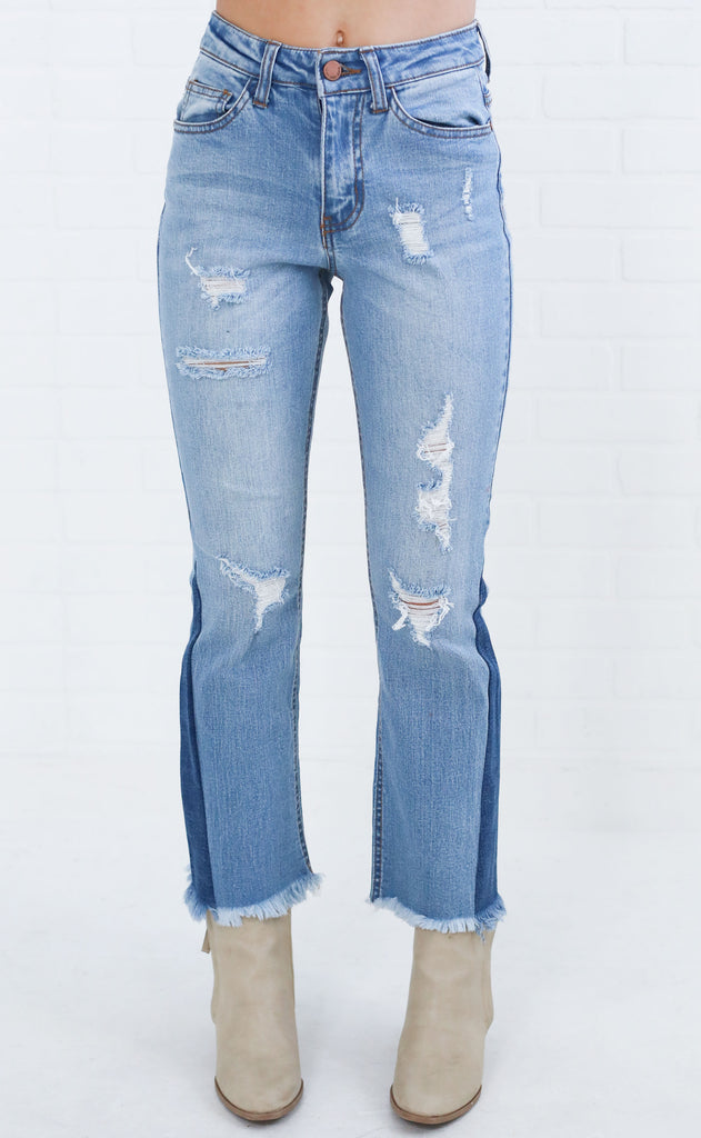 paneled distressed jeans