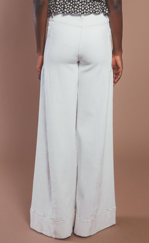 show me your mumu: santa cruz wide leg - pearly white