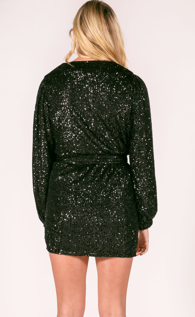 party time sequin dress - black