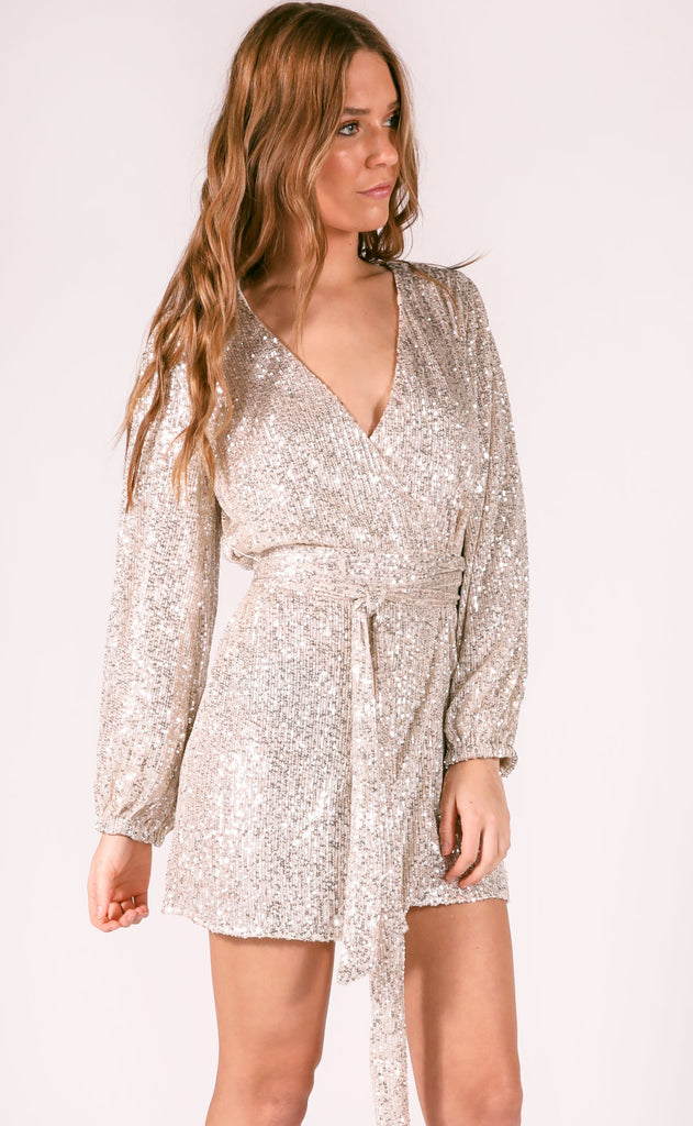 party time sequin dress - silver