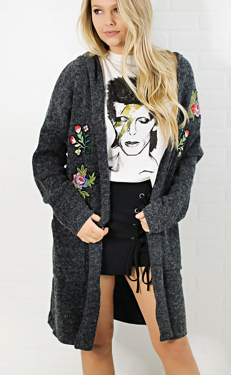 patch it up oversized cardigan