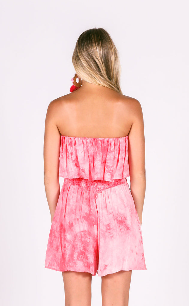 peace out tie dye romper - pink