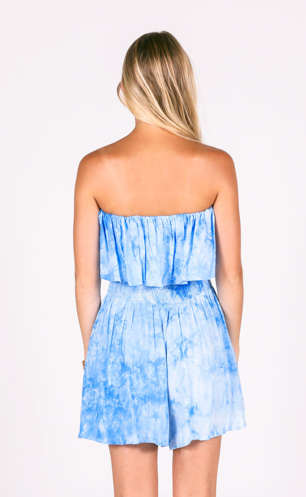 peace out tie dye romper - blue