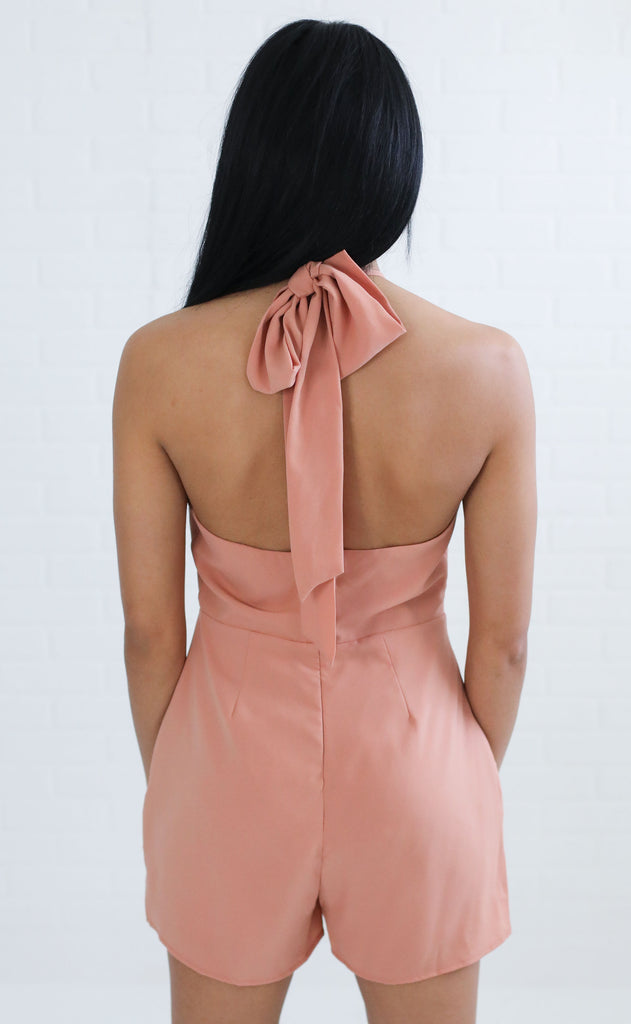 peach daiquiri high neck romper