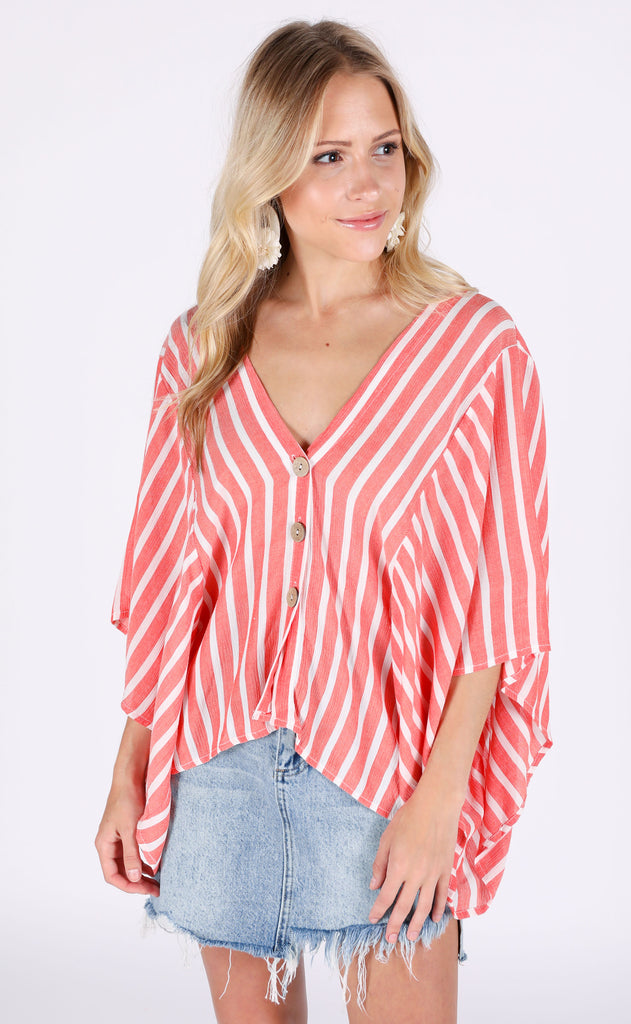 peach pickin' striped top