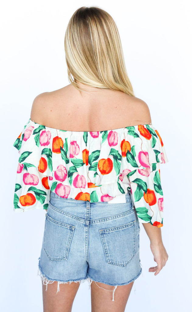 peaches and cream off the shoulder top