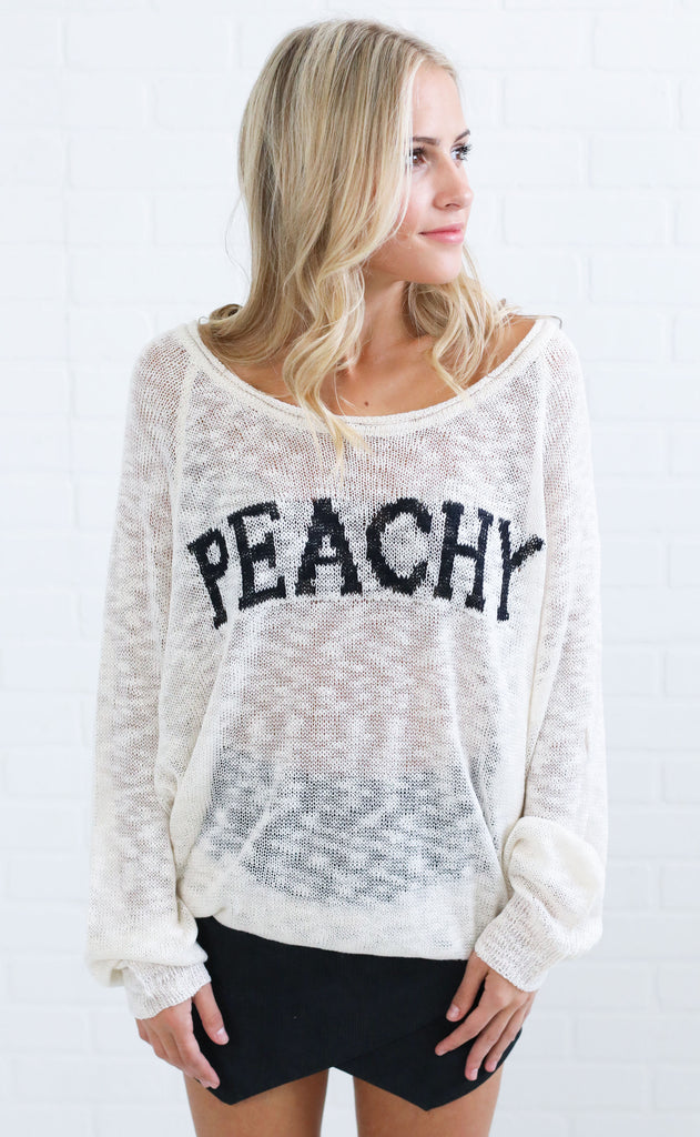 peachy knit sweater