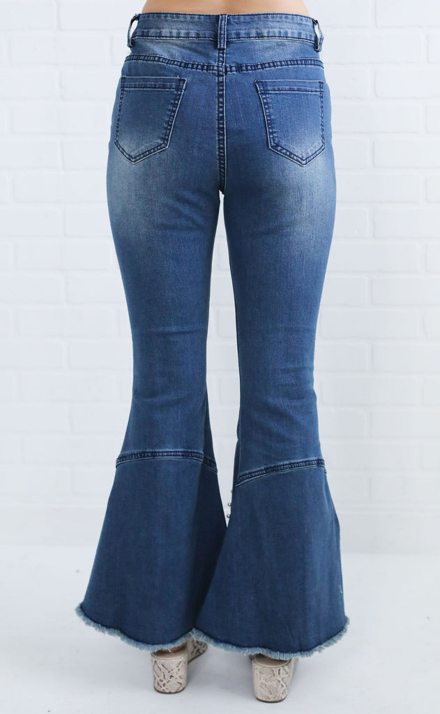 pearled flare jeans
