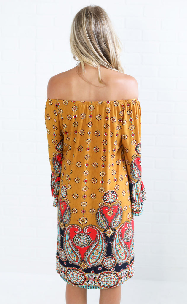 perfect in paisley off the shoulder dress