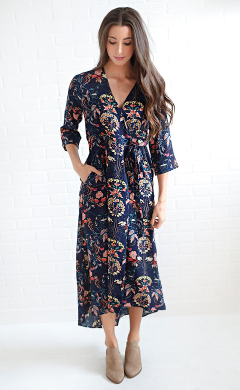 perfect petals wrap dress - navy