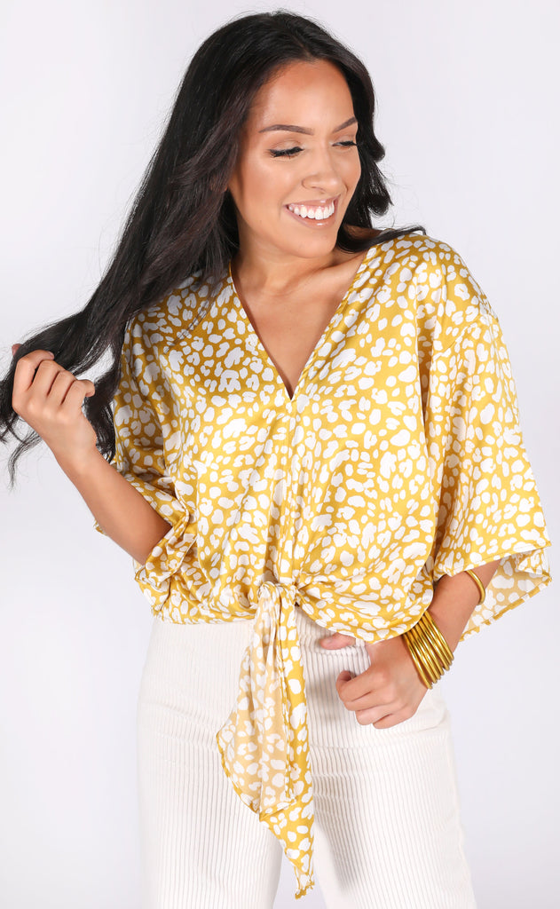 purrfect tie top - mustard