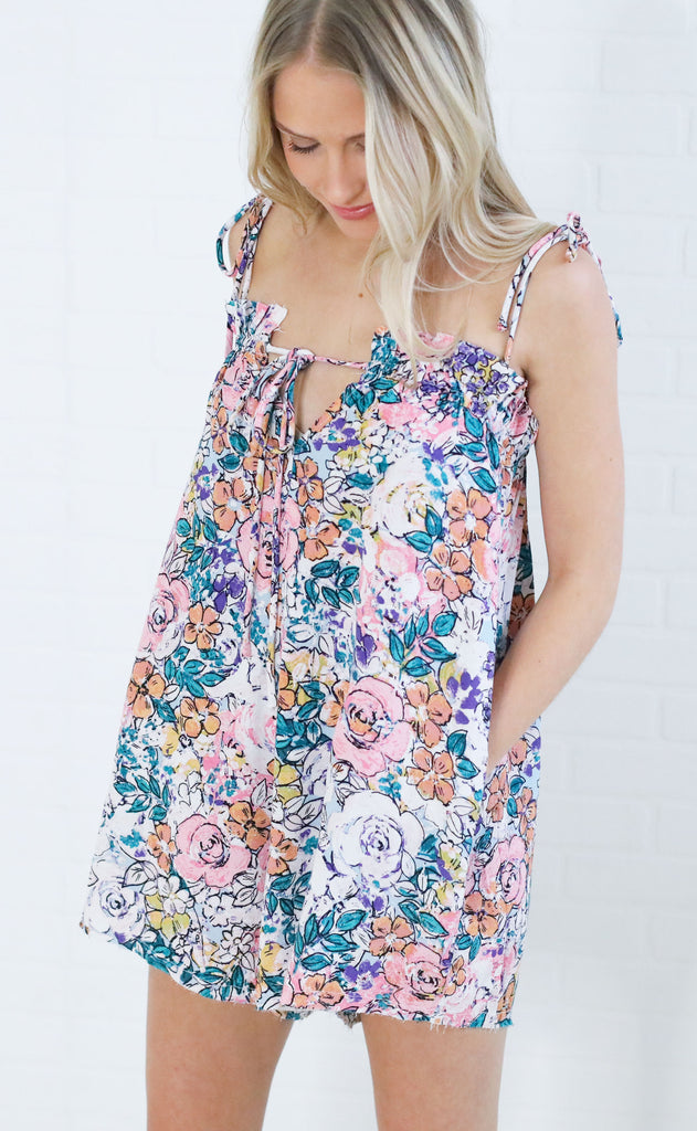 perfectly printed linen romper - floral