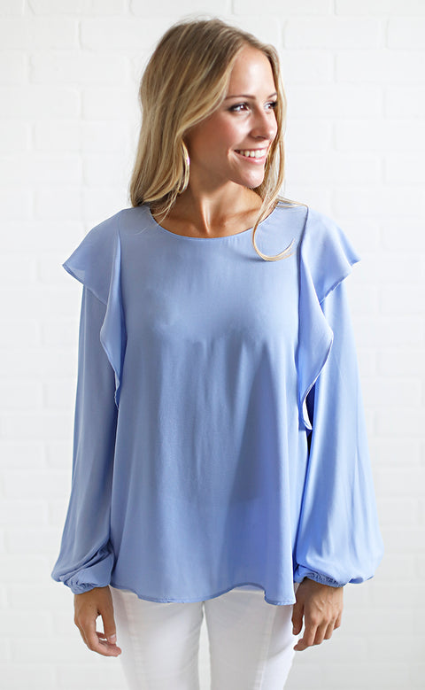 perfectly solid ruffle top - light blue