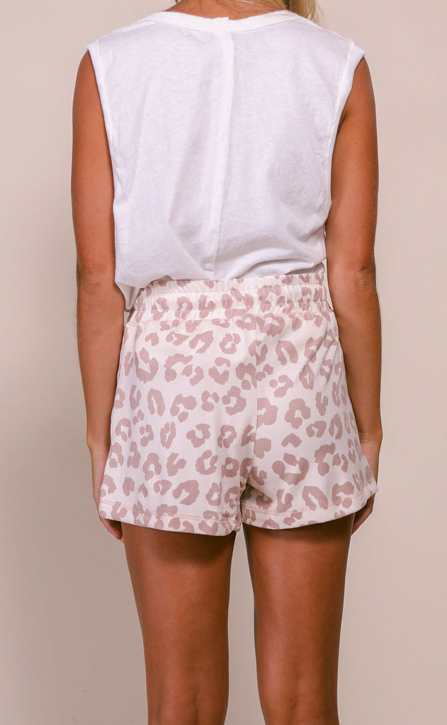 perfectly printed drawstring shorts - mauve leopard