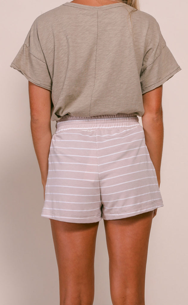perfectly printed drawstring shorts - taupe stripe