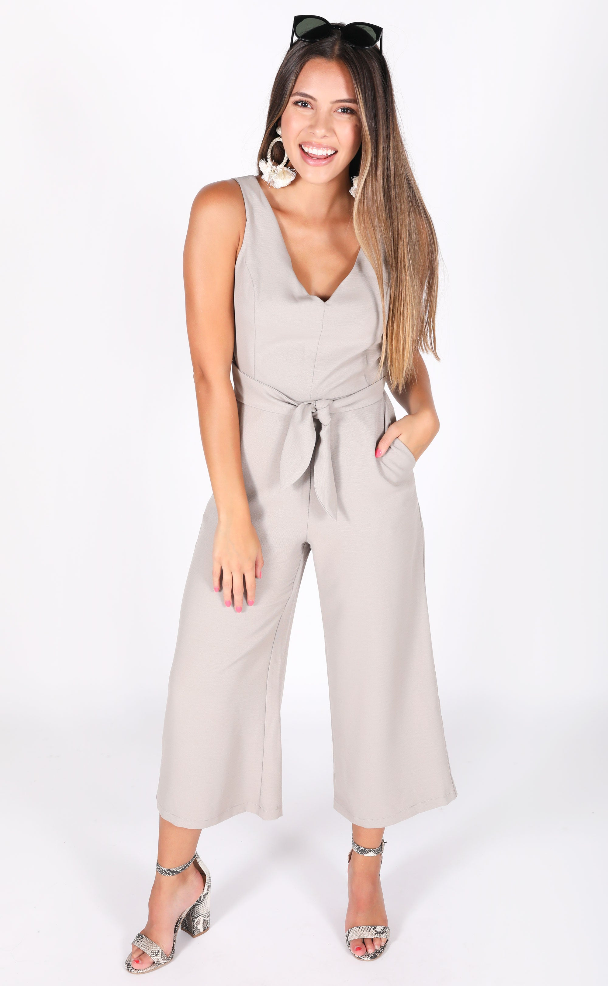 Pewter Wrap Jumpsuit by Riffraff