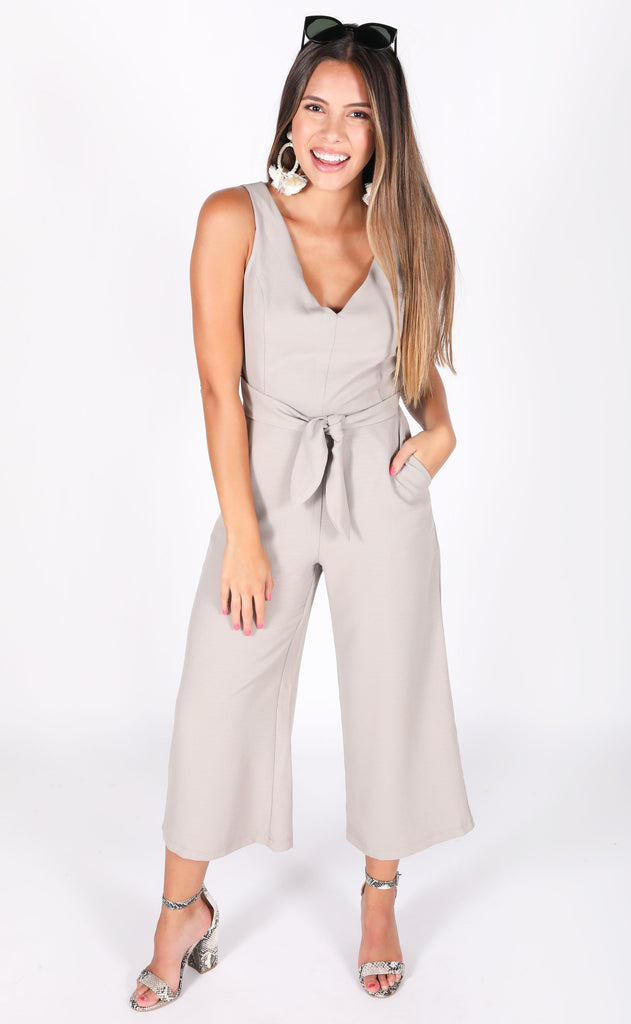 pewter wrap jumpsuit