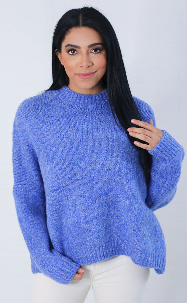 picture perfect knit sweater - blue
