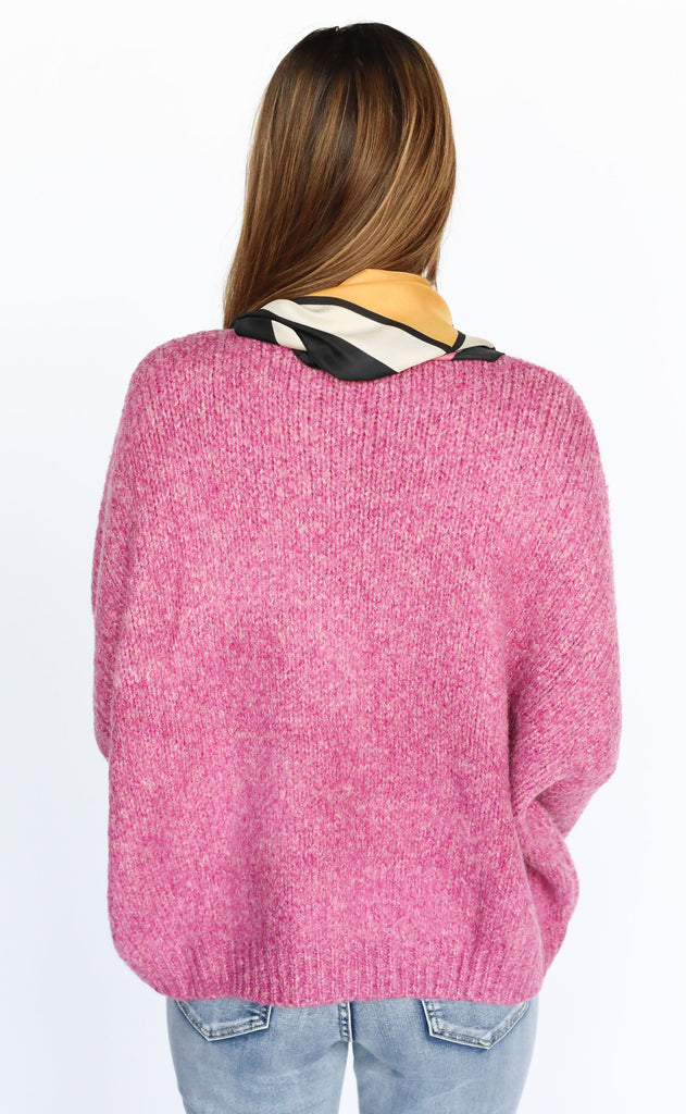 picture perfect knit sweater - magenta