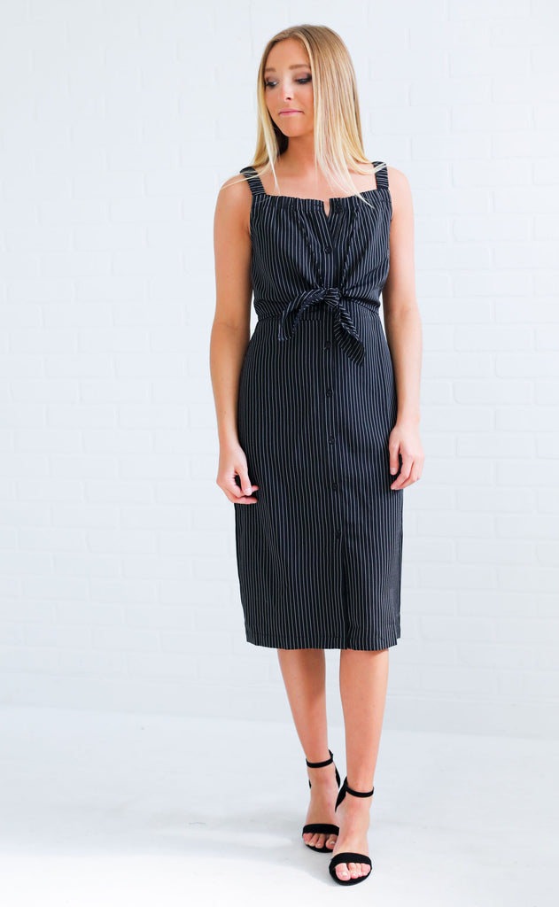 pinstripe perfection midi dress