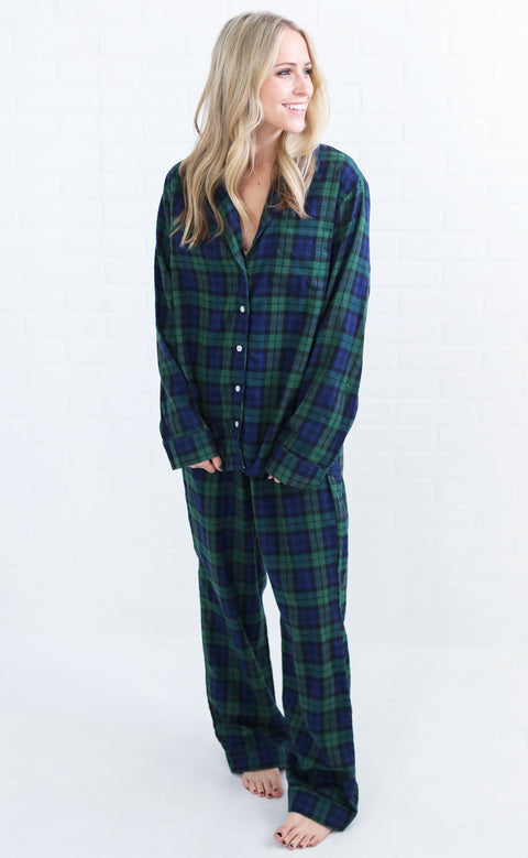happy holidays pj set - navy plaid
