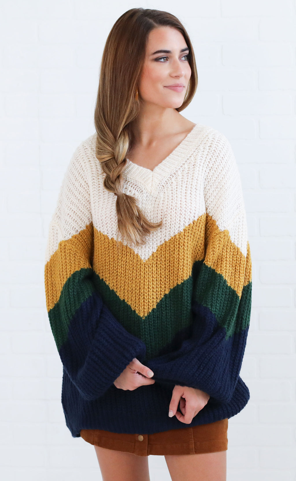 play the field knit sweater - navy stripe