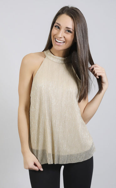 pleat of my heart shimmer top - gold