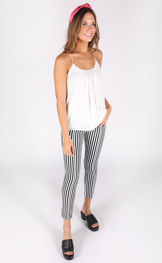 pleats and thank you tank top - ivory